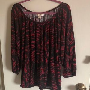 Michael Kors 3/4 Sleeve shirt red and black size L